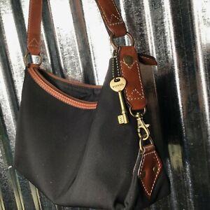 Fossil Satchel Black Textile Leather Trim Shoulder Bag Medium Purse
