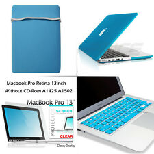 Rubberized Hard Case+Keyboard+HD Film+Soft Sleeve Bag for Macbook Pro 13 Retina