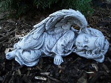 Steinfigur Engel liegend Steinguss Frostfest Wetterfest Haus Garten Grab Deko