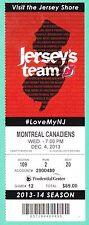 12-4-13 Canadiens at Devils Full Unused NHL Hockey Ticket  Gionta Goal