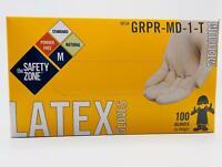 GLOVES LATEX SIZE  MEDIUM SIZE SAFETY ZONE/NOBLE POWDER FREE (100 PER BOX)