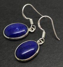 Lapis lazuli oval drop earrings, solid Sterling Silver, New, 15 x 10mm, UK.