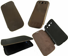 Front Flip Back Battery Cover Case For Samsung Galaxy S3 III i9300 Brown + Gold