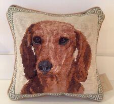"Dachshund Dog Needlepoint Pillow 10""x10"" NWT"