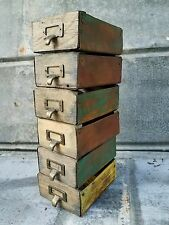6-Vintage Style Wood & Metal Small Apothecary Drawer Box Industrial Bin Storage