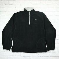 Mens Vintage FILA Quarter Zip Fleece Black Size XL