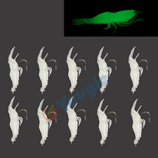 10pcs Glow in the dark Soft Fishing Lure Tackle Bait Shrimp Prawn Yabbie w/ Hook