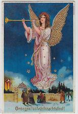 Weihnachten Fest Engel spielt Trompete Präge Gold Lack AK um 1934