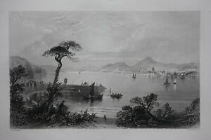 DUNDEE, TAY, SCOTLAND, original antique Victorian print, Finden, c.1841