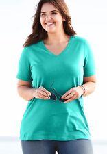 NEW Women's size XL tee shirt top Petite 14 16 Aquamarine Blue short sleeve SS