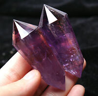 82.2g  12 Sides!!Natural Amethyst Double Terminated Vogel Inspired Crystal Wand