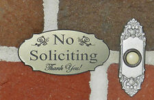 "Elegant No Soliciting Sign Door Plaque 2""x 4"" Sign - Stainless Steel color"