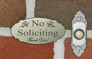 """Elegant No Soliciting Sign Door Plaque 2""""x 4"""" Sign - Stainless Steel color"""