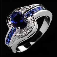 Size 8 Blue Sapphire zircon silver jewelry Fashion Women Wedding Ring Gift BC60