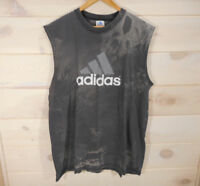 Vtg Adidas Muscle Shirt Men's Sz XXL Sleeveless T-shirt USA Made Gray Bleached