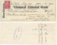 1900 Chemical National Bank of New York Check from Mary Clarkson