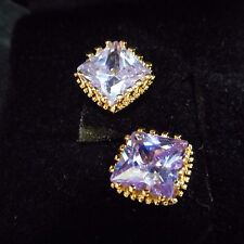 FANTASTIC AMETHYST CUBIC ZIRCONIA EARRINGS   (( PIERCED )) BEAUTIFUL WOW