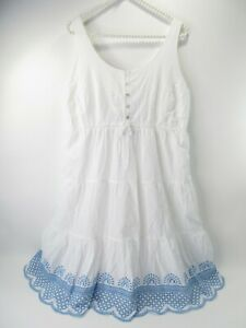 Seraphine Women's 8 White Cotton Embroidered Sundress Eyelet Lace Peasant Boho