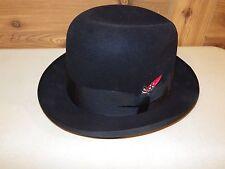 Vintage Dobbs Baskin Fifth Avenue New York Men's Fedora Hat Black w/ Red Feather