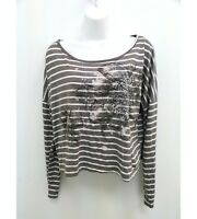XXI Womens Sz Large Blouse Brown White Striped Floral Crop Top Long Sleeves B5