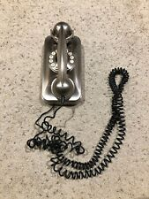 Pottery Barn Grand Wall Phone Faux Dial Push Button Cord Retro Silver *Works A21