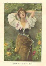 Pretty Lady, In Her Garden, Flowers, Vintage 1904 German, Antique Art Print
