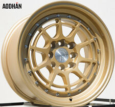 Aodhan Ah04 15X8 4X100/114.3 Et20 Gold Rims Fits Civic Miata Integra Wide Body