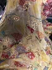 FLORAL SHEER SEQUIN EMBROIDERY ITALIAN PURE SILK  DRESS FABRIC