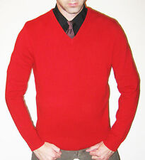 Ralph Lauren Polo 100% Cashmere Cherry Red V-Neck Sweater - Size Medium