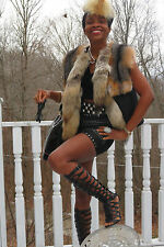 New  Designer Coyote & Island fox Fur Vest sleeveless coat Jacket 0-8 + free Hat