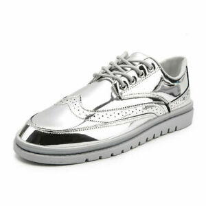 Men Shiny Flats Patent Leather Shoes Board Shoes Round Toe Wing Tip Lace Up Shoe