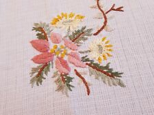 Vintage Hand Embroidered Christmas Linen Tablecloth Runner Tea table