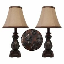 "19""H Traditional Dark Bronze Small Table Lamps Set of 2"