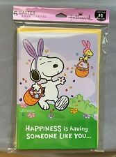 NEW!! One Pack, Set of 6 Hallmark Easter Cards with Envelopes - Peanuts