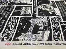 """4 metros Negro y Blanco """"Iconos Londres"""" Estampado 100% Manualidades ALGODÓN"""