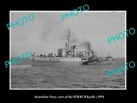 OLD LARGE HISTORIC PHOTO OF AUSTRALIAN NAVY SHIP HMAS WHYALLA c1950