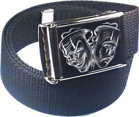 Smile Now Cry Later Cholo Lowrider Belt Buckle Bottle Opener Adjustable Web Belt