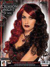 Midnight Siren Wig Black Red Vampire Fancy Dress Halloween Costume Accessory