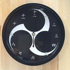 Kamon Japanese Family Crest Mitsudomoe 9 - 9.5 inch Wall Clock