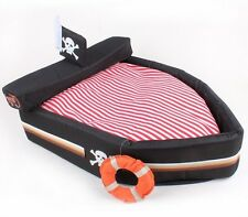 New Cute Black Pirate Boat Pet Dog Cat House Bed With Life Buoy Size M