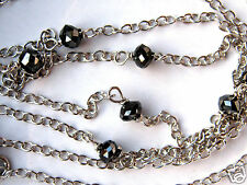 "1.00 Carat Black Diamond Station Necklace Sterling Silver .925 18"" Cable Chain"