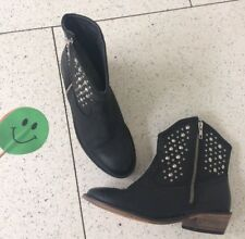 Next Uk4 Eur37 Real Leather Chelsea Boots Ankle Flat Black Studded £65