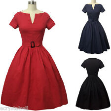 Womens 50s Retro Rockabilly Swing Pinup Housewife Cocktail Evening Party Dress