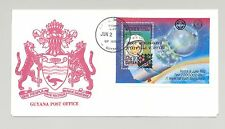 Guyana 1990 Belgica Scouts Rotary Inverted Black o/p Error on Space S/S FDC