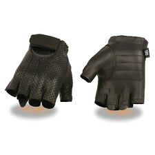 Milwaukee Leather Men's Perforated Fingerless Gloves w/ Gel Palm - SH357