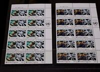 UNITED NATIONS 1987 ANTI DRUGS CAMPAIGN SET OF 2 IN CNR BLOCK OF 10 M/N/H