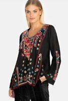 Johnny Was Dulci Floral Embroidered Handkerchief Hem Black Top Tunic Sz M~NWT