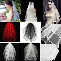 3 Tier Wedding Bridal Elbow Veil Short Length Satin Edge With Comb 4 Color New !