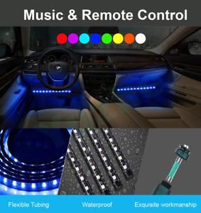 luces interiores para carro multicolor sensor musica 4 barras led facil instalar