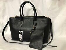 NWT Alessandro Mari Large Leather Satchel/Crossbody Bag Black Made in Italy